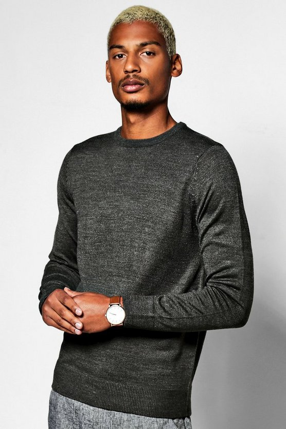 Crew Neck Long Sleeve Marl Jumper