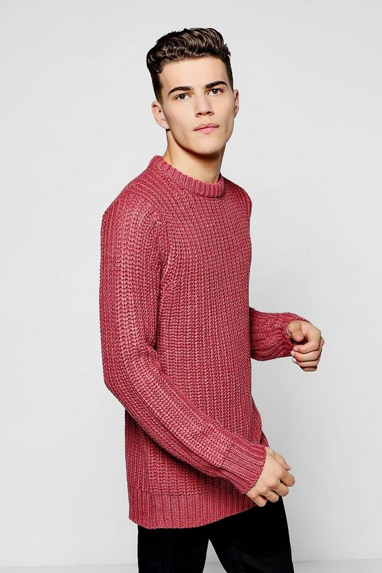 Crew Neck Fisherman Knit Heavy Gauge Jumper