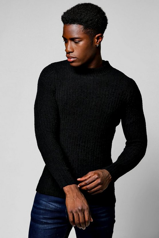 Crew Neck Chenille Yarn Knitted Jumper