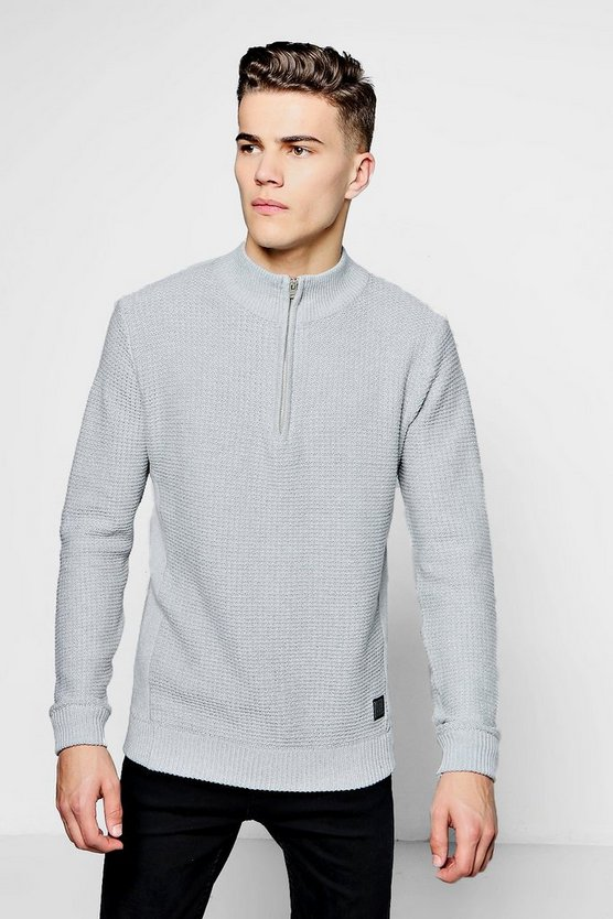 Waffle Stitch Jumper With 3/4 Zip Placket
