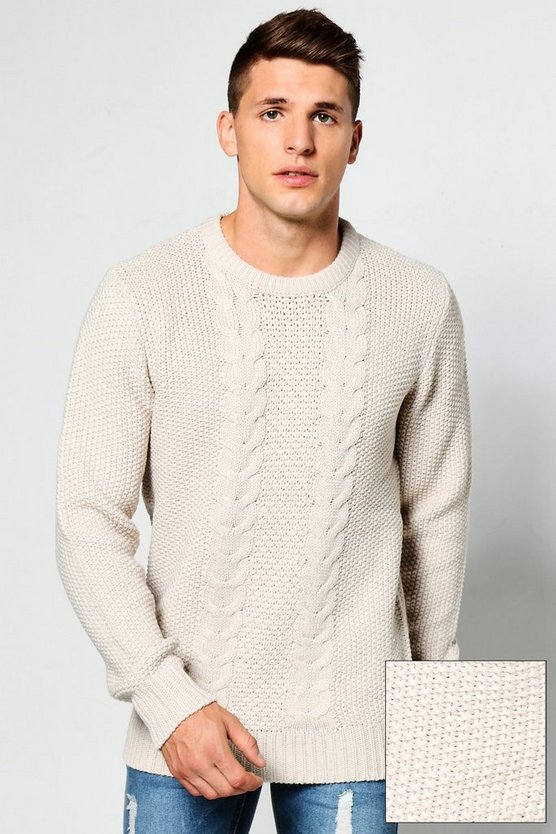 Crew Neck Jumper With Cable Knit Front