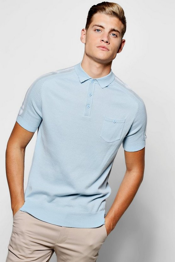 Short Sleeve Knitted Polo With Striped Sleeves