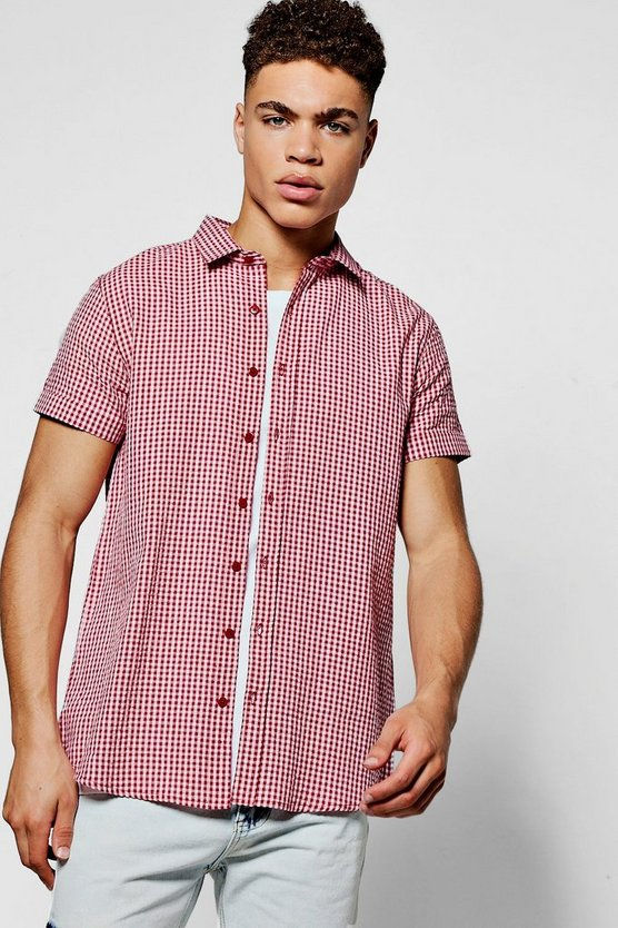 Short Sleeve Mini Gingham Shirt