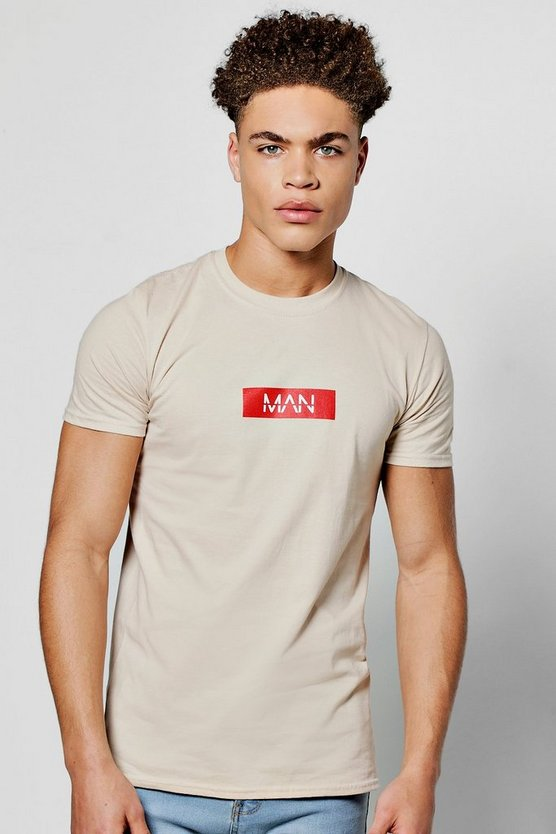MAN Logo Chest Print T Shirt