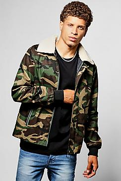 Zip Through Camo Harrington Jacket With Borg Collar