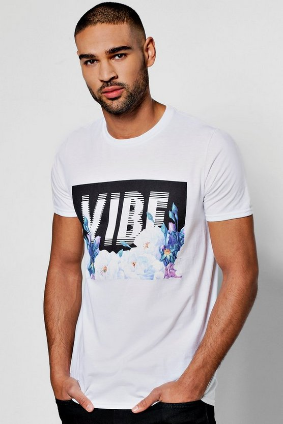 T-shirt con stampa vibe offuscata