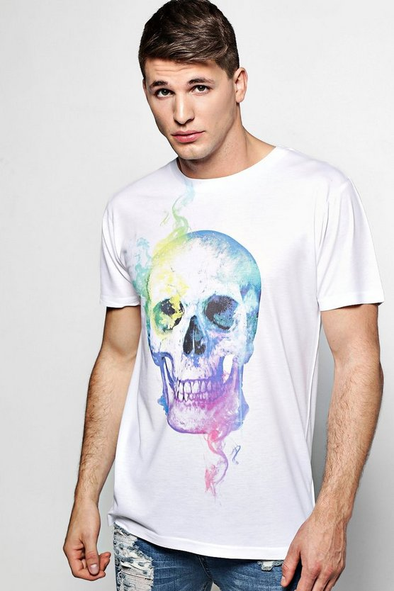 Smoking Skull Print T Shirt