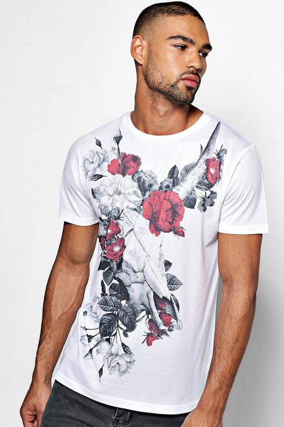 Skull And Flower Sublimation T Shirt