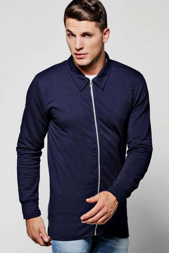 Muscle Fit Jersey Harrington Jacket