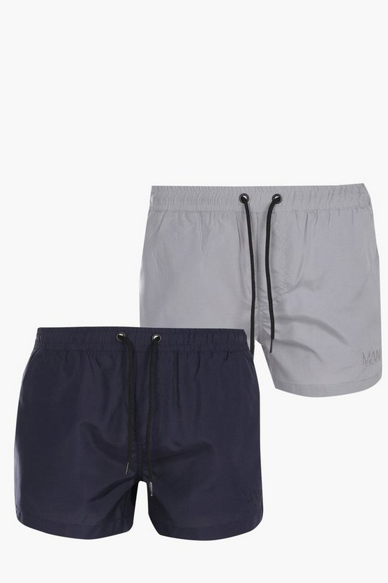 2 Pack Short Swim Shorts With Embroidery
