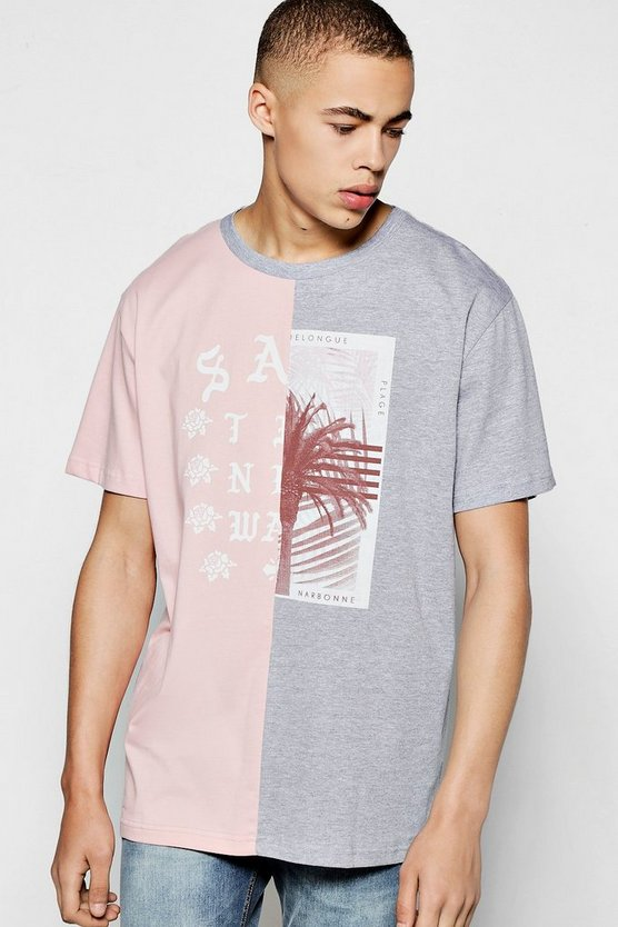 Oversized Spliced T shirt With Chest Print