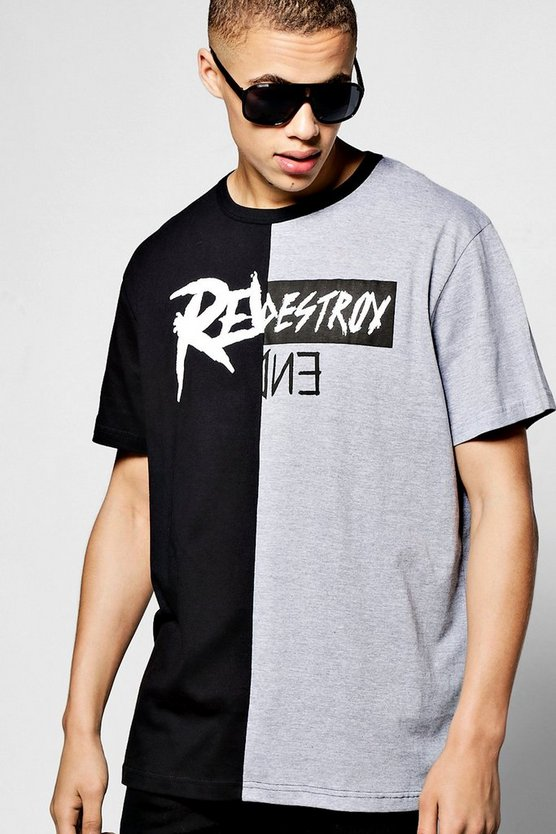 Oversized Destoyed Spliced Print T Shirt