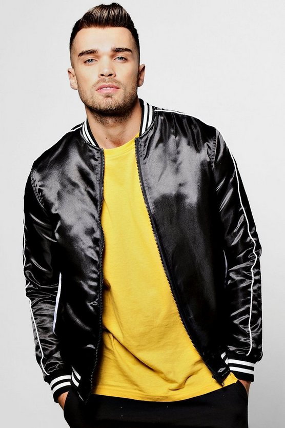 Varsity Style Satin Bomber Jacket With Contrast Piping
