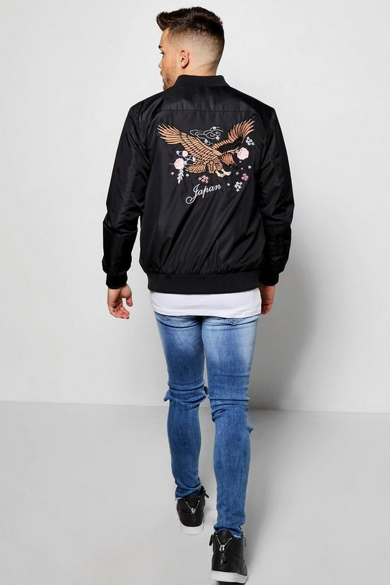 Chest & Back Eagle Embroidered Bomber Jacket