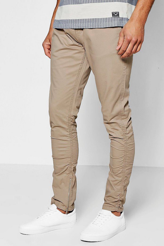 Rouched Leg Peached Finish Chino Trousers