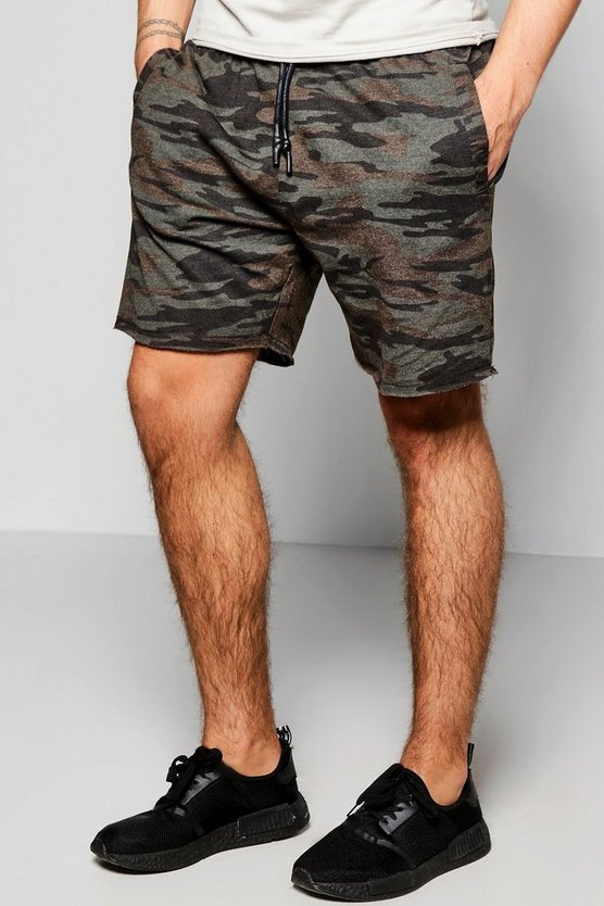 Camo Distressed Hem Jersey Short