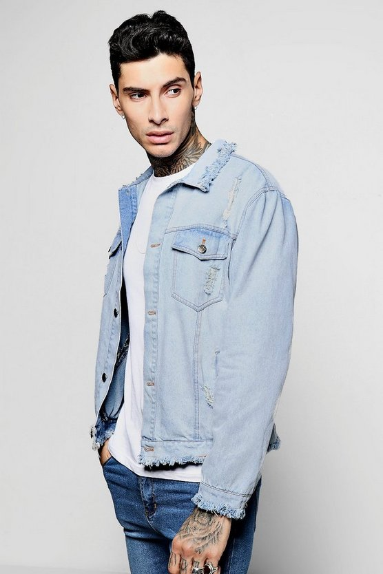 Raw Hem And Distressed Denim Jacket