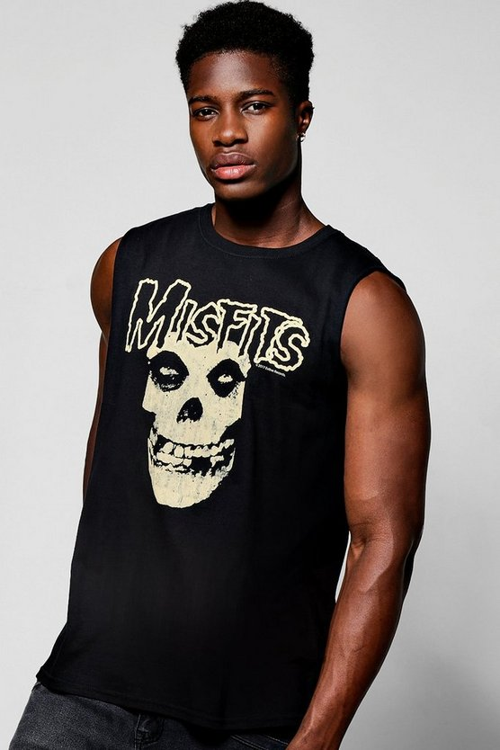 Oversized Cap Sleeve License Misfits T Shirt