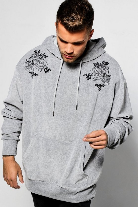 Embroidered Velour Oversized Over The Head Hoodie