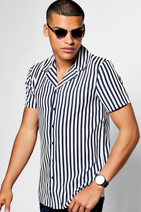 Short Sleeve Wide Stripe Revere Collar Shirt