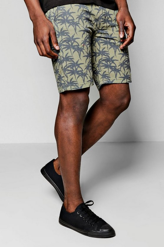 Palm Print Khaki Chino Shorts