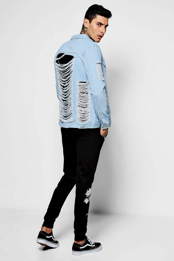 Rigid Denim Jacket With Extreme Distressing