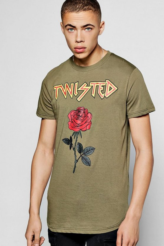 Longline Twisted Rose T-Shirt with Curved Hem