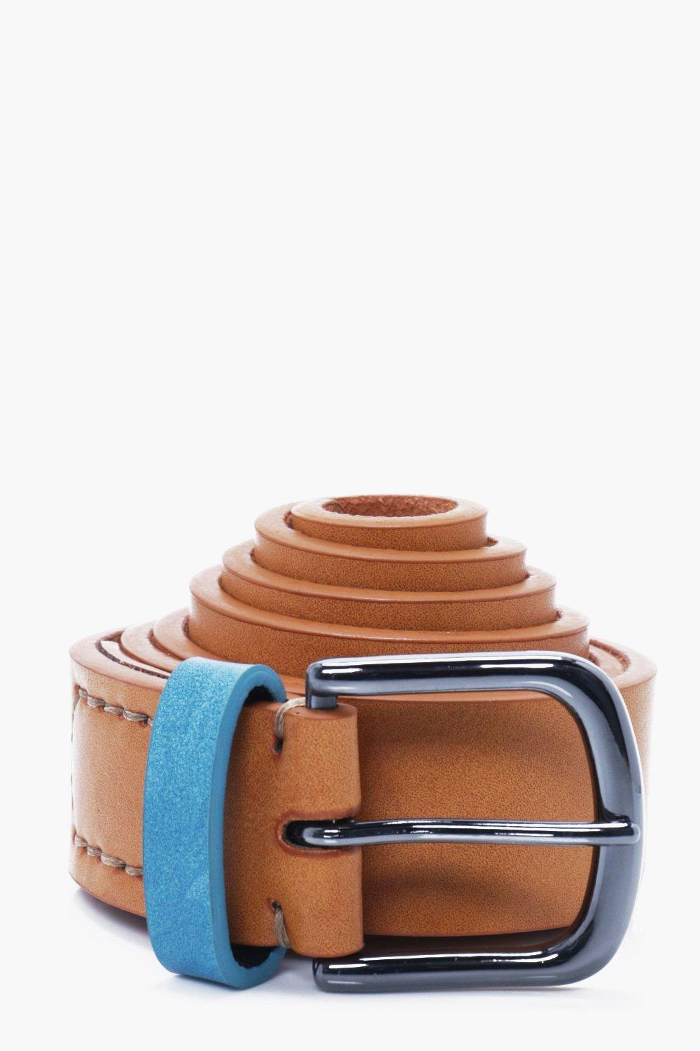 Belt With Contrast Keeper - tan - PU Belt With Con