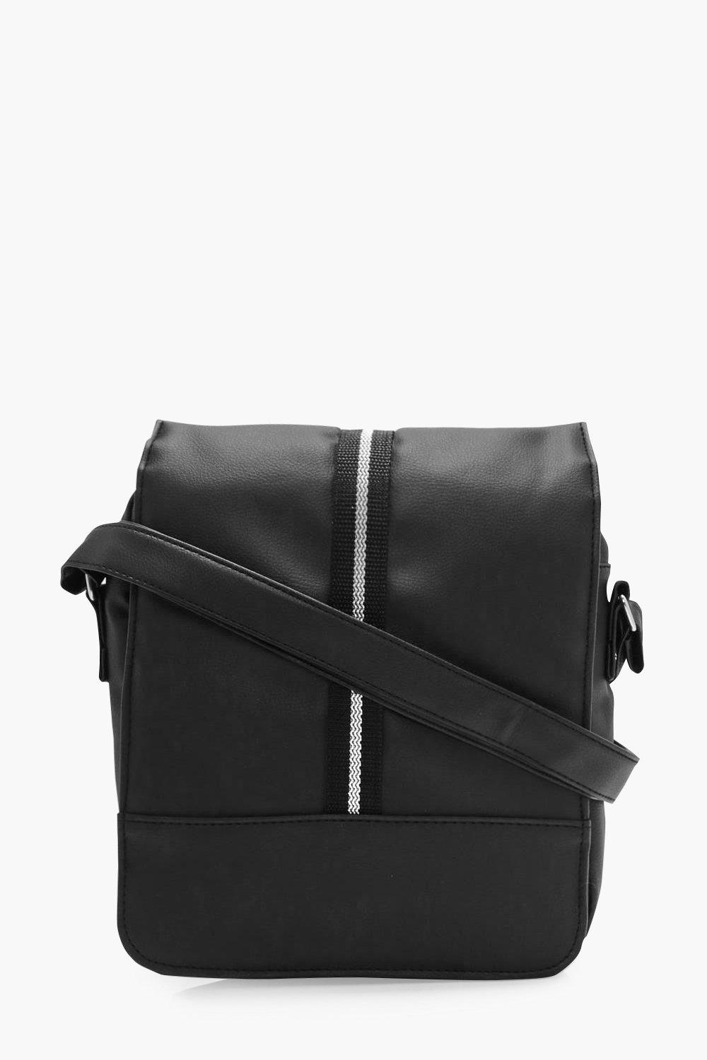 Black PU Man Bag - black - All Black PU Man Bag -