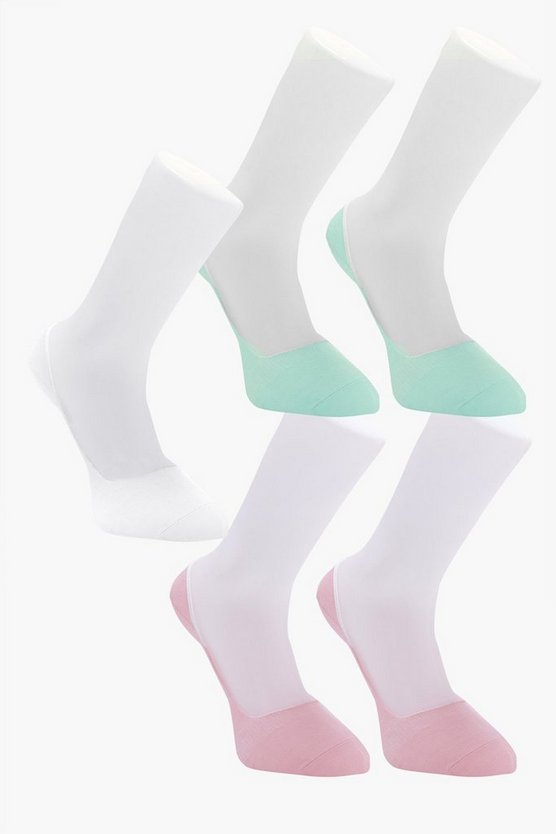 5 Pack Invisible Coloured Socks With Grips
