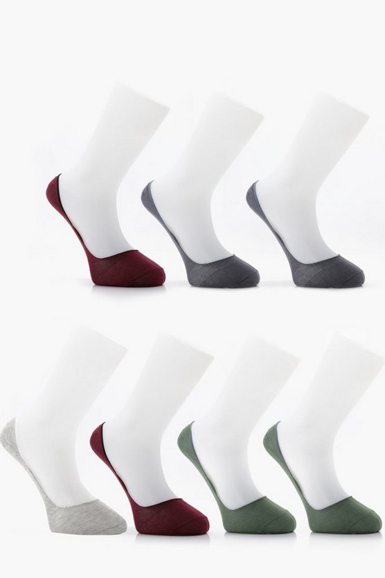 7 Pack Invisible Coloured Socks With Grips