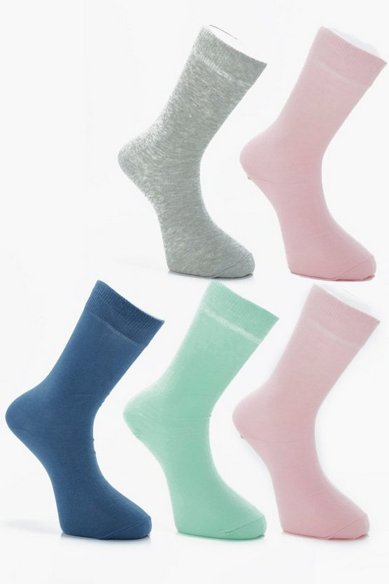 5 Pack Coloured Cotton Socks