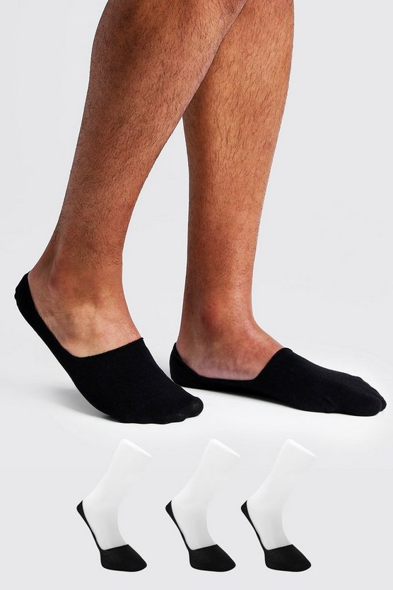 3 Pack Invisible Black Socks With Grips