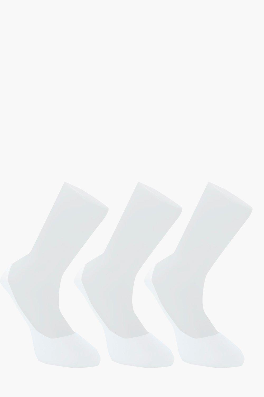 Купить Leisurewear, Комплект из трех пар Невидимые под обувью носки Grips вечере, белый, boohoo