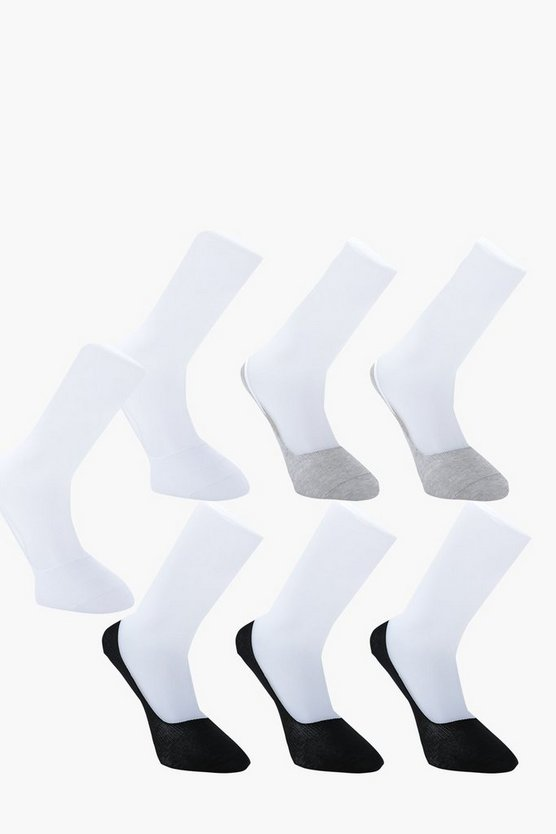 7 Pack Invisble Monochrome Socks With Grips