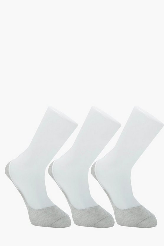 3 Pack Invisible Grey Socks With Grips