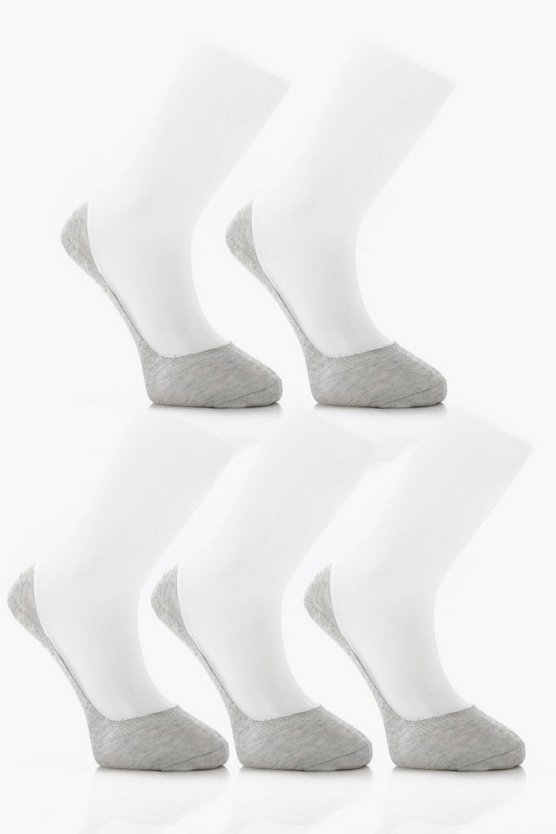 5 Pack Invisible Grey Socks With Grips