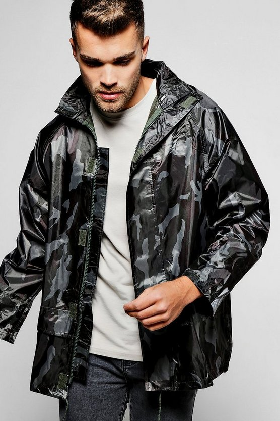 Zip Through Camo Waterproof Jacket