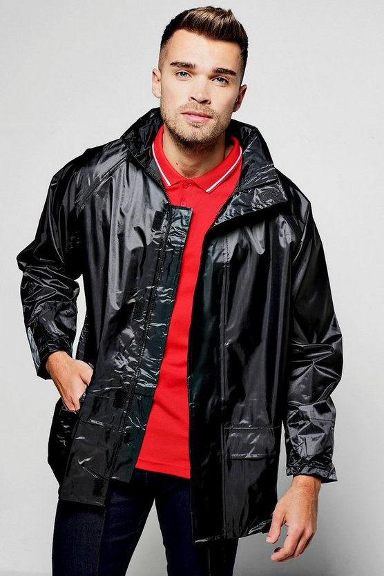 Zip Through Black Waterproof Jacket