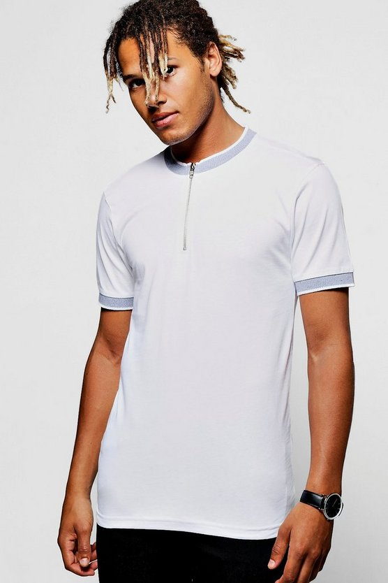 Contrast Bomber Neck Polo T shirt