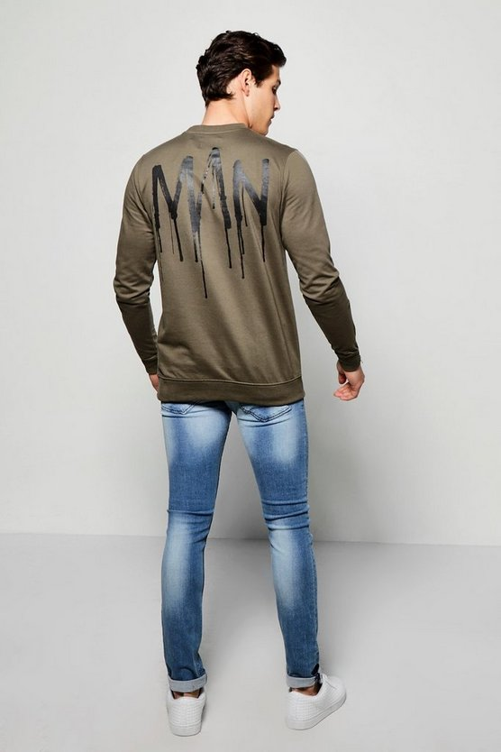 MAN Back Print Sweater With Side Zips