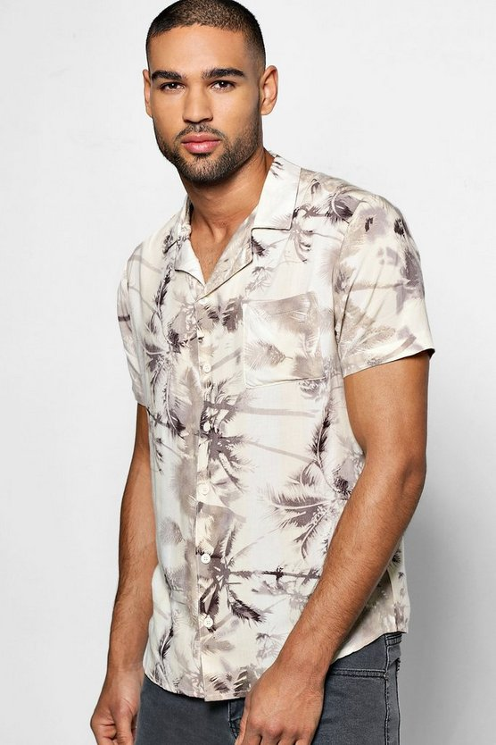 Short Sleeve Palm Print Revere Collar Shirt
