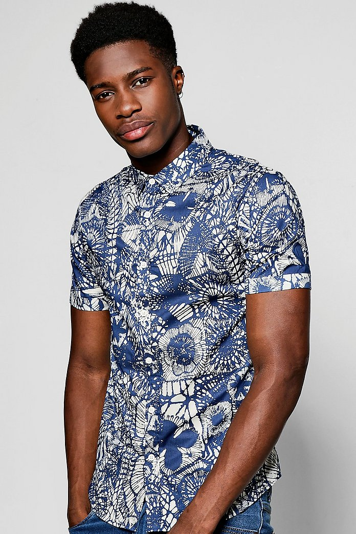 Short Sleeve Floral Print Shirt