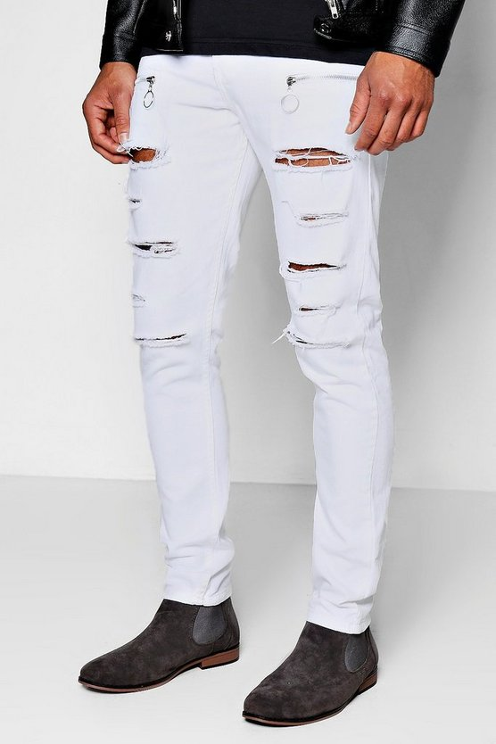 Skinny Fit Rigid Denim Jeans With All Over Rips