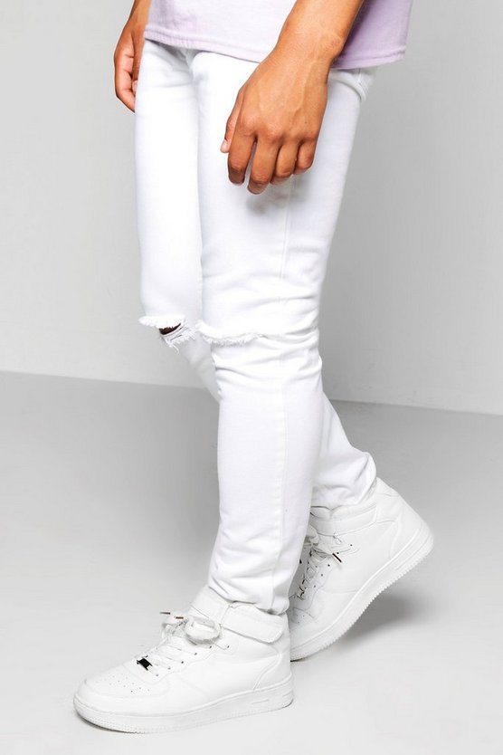 Skinny Fit Ripped Knee Rigid White Jeans