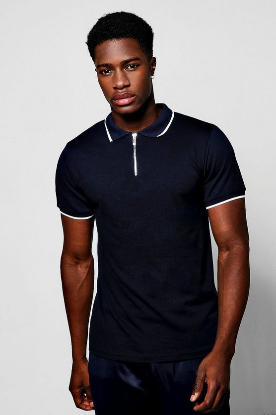 Short Sleeve Zip Polo With Tipping