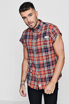 Oversized Cap Sleeve Sprayed Shirt