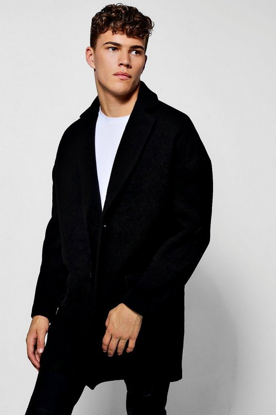 Single Breasted Drop Shoulder Wool Mix Overcoat