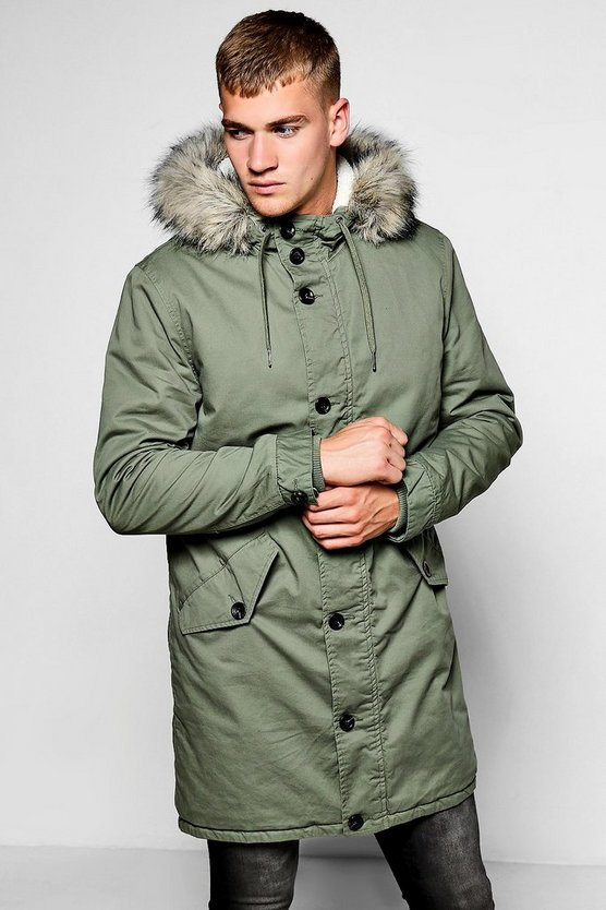 Fully Borg Lined Zip Through Parka