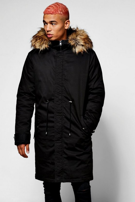 Longline Parka with Oversized Faux Fur Hood